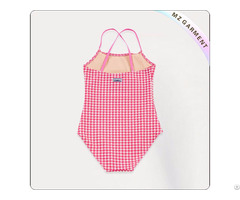 Kids White And Red Lattice Swimsuit