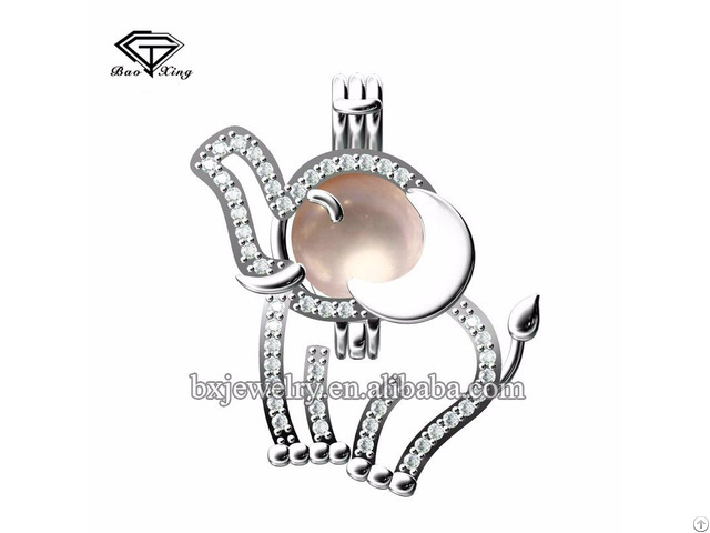 Hot Products 2017 New Design Cubic Zircon Elephant Cage Pendant For Pearl