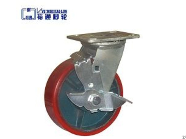 Pu Cast Iron Core Caster With Brake