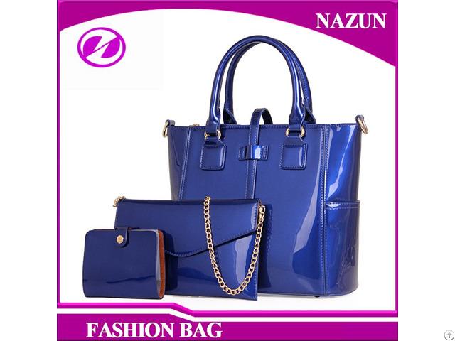 Factory Custom Lady Handbags Beautiful Pu Leather Fashion Bag Set