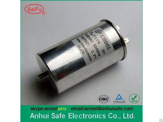 High Quality Metallised Polypropylene Film Cylindrical Motor Run Cbb65 Ac Capacitor