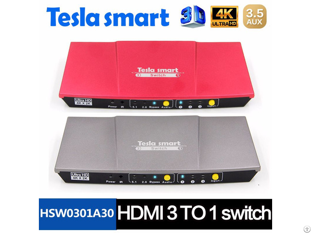 High Quality Audio Optical Aux Extractor With Ir 3x1 Hdmi Switch