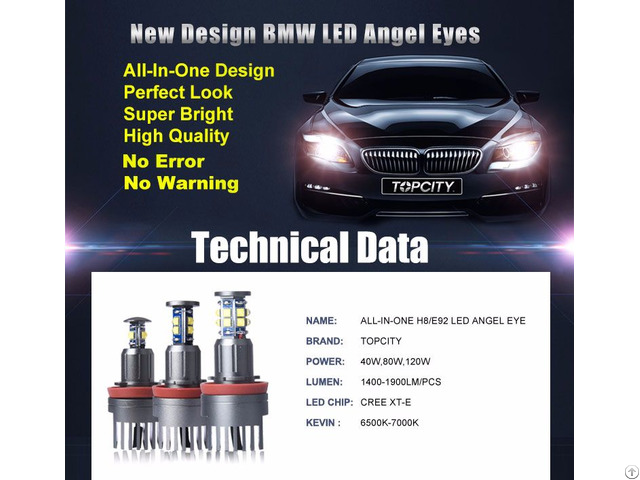 Topcity New Design All In One H8 Led Angel Eyes