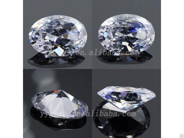 Semi Precious 6x8mm Oval Shape Cz White Cubic Zirconia Stone