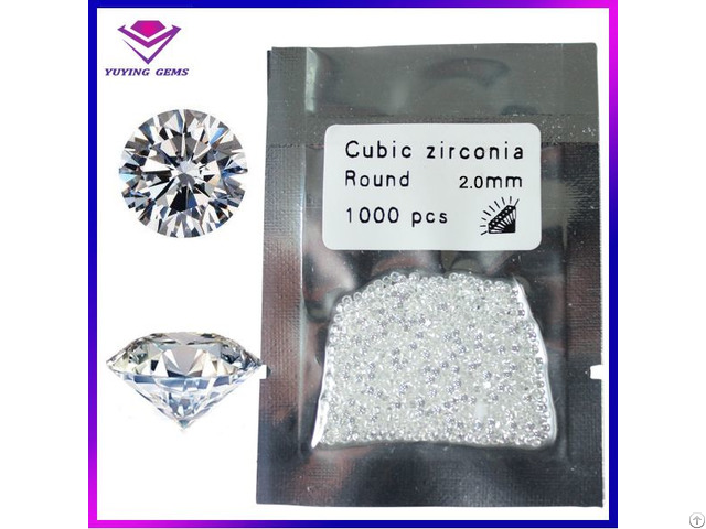 1000pcs A Lot White Color Brilliant Round Shape 2mm Synthetic Cubic Zirconia Loose Stone