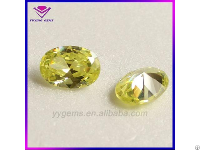 8x10mm Oval Cut Cz Yellow Cubic Zirconia Gemstone From Wuzhou