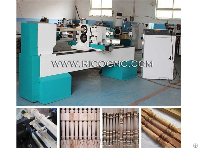 Two Axis Cnc Lathe Machine For Wooden Stairs Woodturning Tools Base Bat Making Machinery