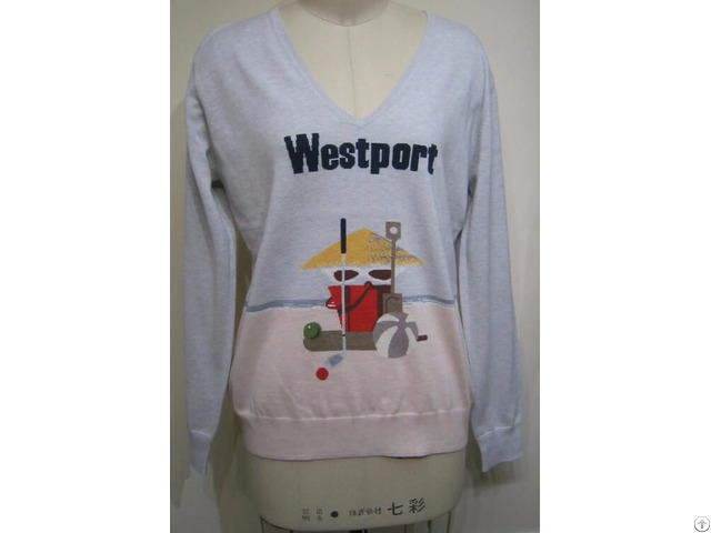 Cute Sweater Womens Knitwear Tops Intarsia