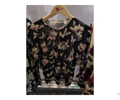 Printed Sweater Women Knits Black Pullover Flowers