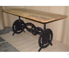 Industrial Vintage Crank Dining Table