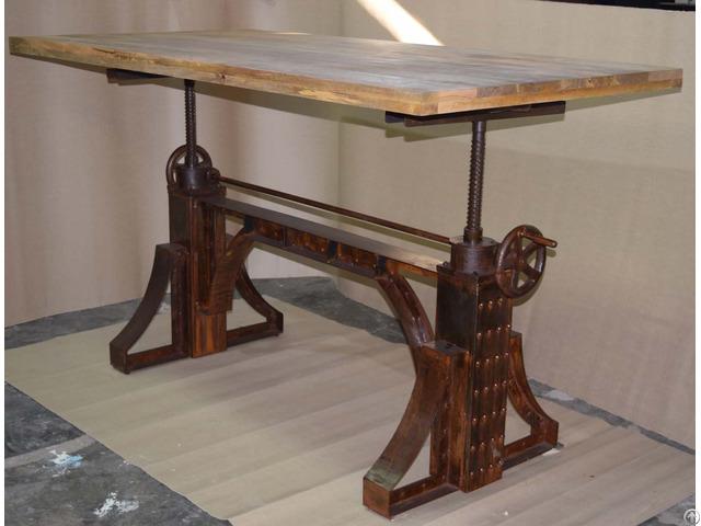 Metal Riveted Crank Table Rustic Cafe Furniture
