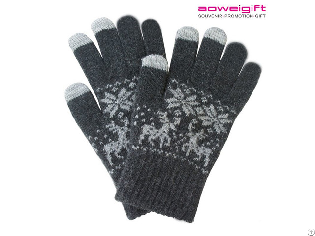 Winter Snow Warm Wool Glove Deer Knitted Lover Christmas Gift Touch Gloves