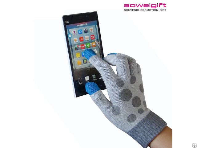 Fashion Dot Winter True Touch Screen Acrylic Fiber Gloves Warm Knitted Glove