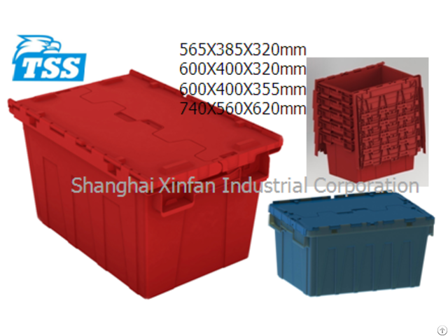 Attached Lid Container Plastic Tote Box 47l 560x380x320mm Model No Tbx5638