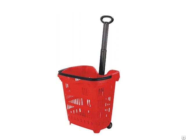 Supermarket Plastic Handle Shopping Basket With Rollering Wheels