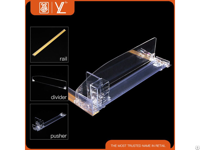 Supermarket Plastic Display Shelf Pusher System And Divider
