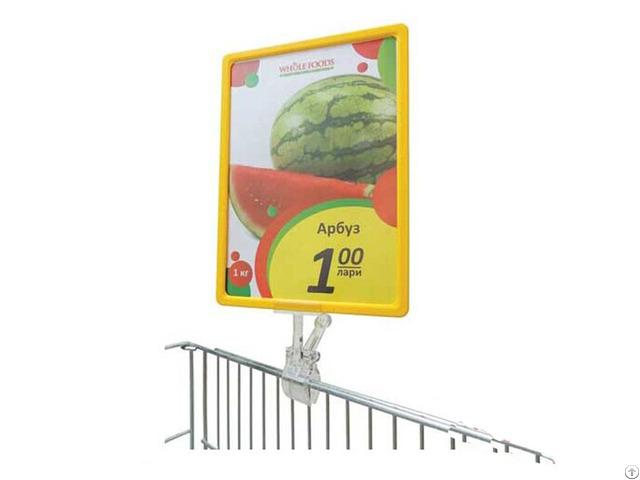 Supermarket Poster Display Frame Holder With Plastic Clip