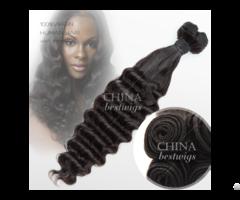 Machine Made Weft Virgin Hair 16inch Deep Wave