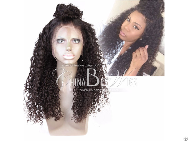Natural Brazilian Virgin Hair Curly Full Lace Wigs