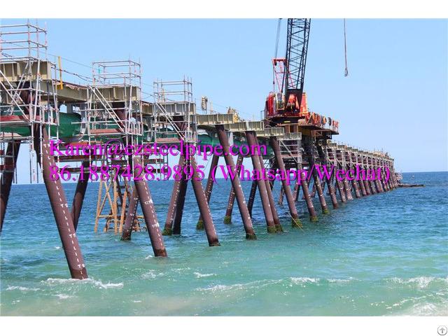 Marine Coastal Tubular Steel Pipe Pontoon Support Piles