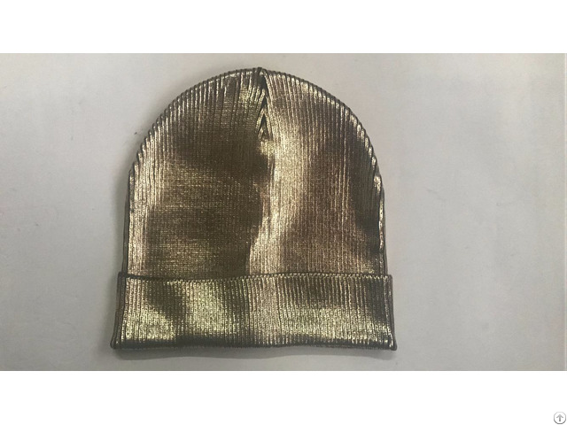 Ladies Hot Stamping Gold Foil Beanie Knitted Hat With Folding Trim
