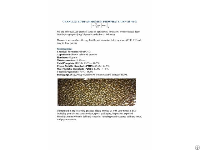 Dap Diammonium Phosphate 18 46 0 Alexandria Worldbid B2b Market