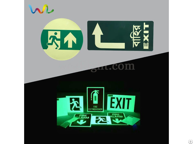 Glow In The Dark Exit Signs Fire Safety Symbol