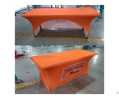 Customizing Logo Stretchy Promotional Spandex Table Covers Clothers With Elastic Rubber Printing