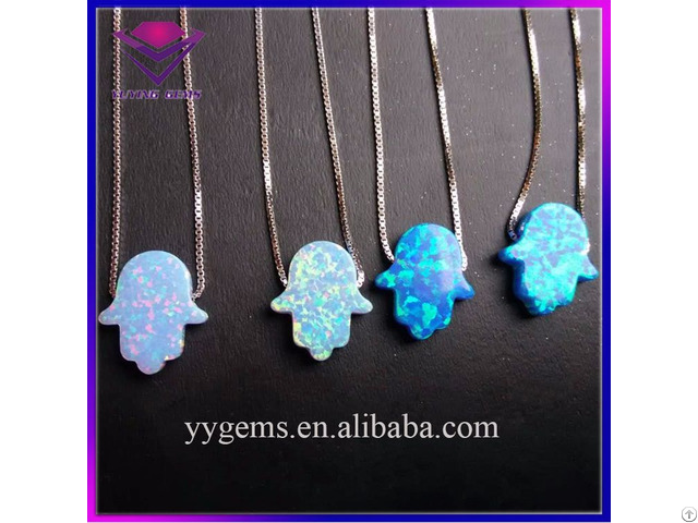 Hot Sale 11x13mm Hamsa Hand Opal 925 Silver Necklace