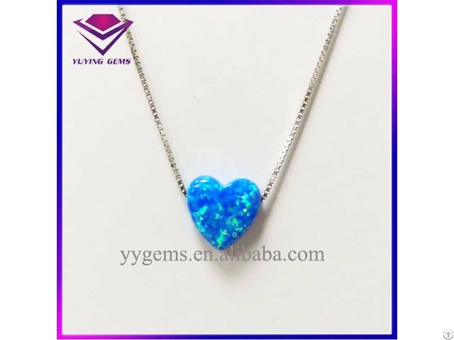 Fashion 10x10mm Blue Color Heart Shape Opal Necklace