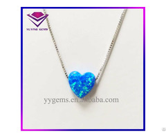 Fashion 10x10mm Blue Color Heart Shape Opal Necklace