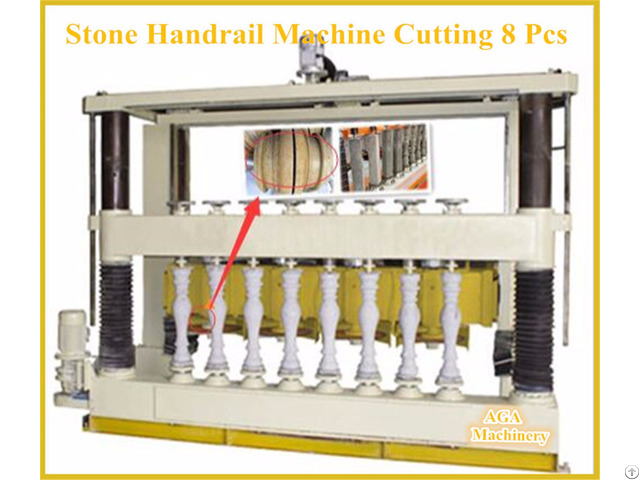 Multiblade Stone Cutting Machine For Fabricating Pillar Balustrade Handrail