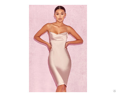 Women Satin Evening Dress In Nude