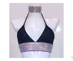 Women Gliter Crop Top With Dimante Crystal Band