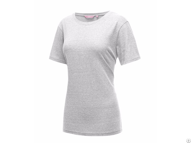 Short Sleeve Round Neck Cotton Tri Blend Summer T Shirt Top
