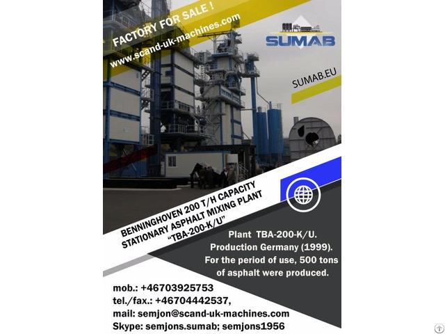 Used Stationary Asphalt Mixing Plant Sumab Tba 200 K U
