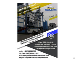 Used Stationary Asphalt Mixing Plant Sumab Tba 200 K U