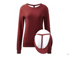 Women S Long Sleeve Round Neck Active Open Back Running Top