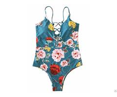 One Piece Swimwear Front Strappy Cross Women S Swimsuit Print Bathing Suit