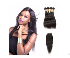 Indian Straight Hair Weave With Lace Closure 3 Bundles