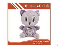 Plush Stuffed Cat Toy Clock Filling 100% Pp Cotton 20cm