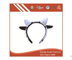 Plush Cow Ears Headband Embroidered