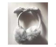 Newest Ladies Fancy Gray Long Hair Fake Fur Earmuff With Rabbit Ear And Knot