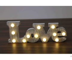 Customized Decoration Wooden Alphabet Letter Love Type Led Lights