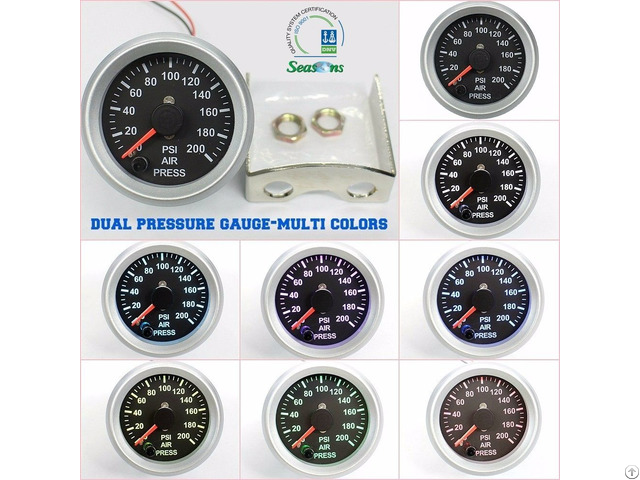 52mm Dual Needle Air Pressure Gauge Multi Colors