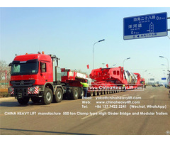 Chinaheavylift 450 Ton High Girder Bridge And Goldhofer Thpsl Modular Trailer