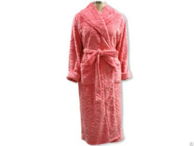 Ladies Pink Rose Cut Pile Flannel Fleece Robe Ls 1282
