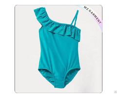 Girls Ruffled One Shoulder Swimsuit