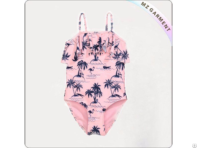 Girls Light Pink Palms Swimsuit With Ruffle