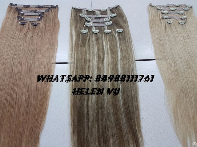 Vietnam Full Head Set Clip In Hair Extensions High Quality